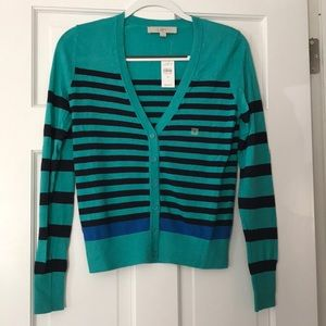 NWT- LOFT Teal/Navy Striped Cardigan